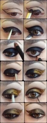 tutorial maquiagem olhos esfumados preto e dourado