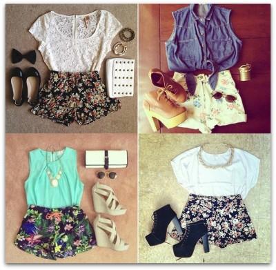 shorts com motivos florais