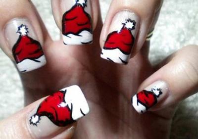 Christmas-Nails-Art-Santas-Hat-Click-pic-for-25-Holiday-Crafts