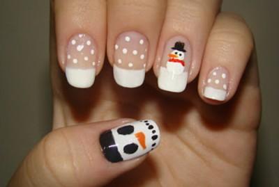 Unhas-para-o-natal-boneco de neve
