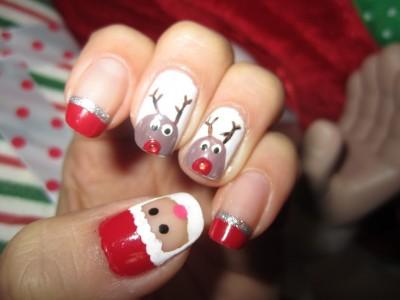 unhas para natal papai noel e renas