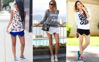 moda saia e tenis