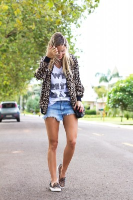 shorts jeans animal print