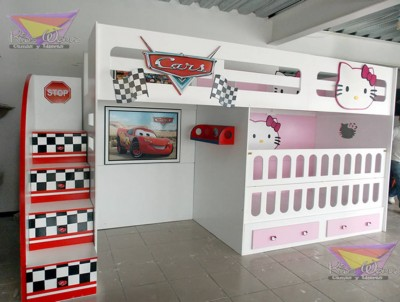 beliche cars e hello kitty