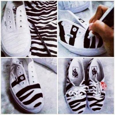 diy ténis zebra