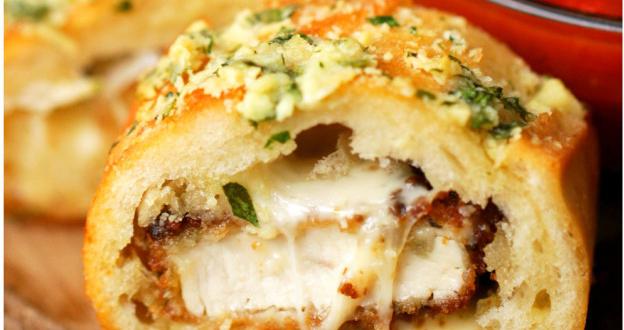 Pão de alho recheado com frango